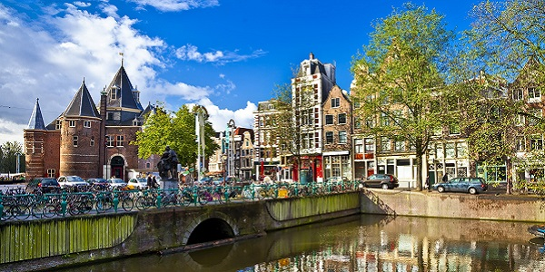 beautiful Amsterdam , canals in downtown